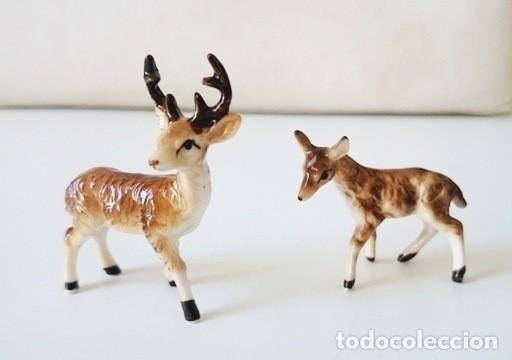 Usado, Pareja de renos de miniatura en porcelana, macho y hembra segunda mano