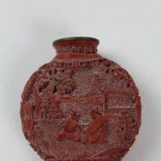 Coleccionismo: SNUFF BOTTLE ,TABAQUERA ORIENTAL DE LACA ROJA. PRINCIPIOS S.XX.. Lote 119866251
