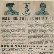 Coleccionismo: AÑO 1954 RECORTE PRENSA CARTEL DE TOROS FERIA DE ABRIL SEVILLA REDONDEL DON CANDIDO PEDRES VAZQUEZ. Lote 120374019