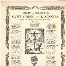 Coleccionismo: COBLES- COPLAS.- SANT CRIST DE L'AGONIA. PARROQUIA STA. AGNÉS DE BARCELONA- 1954. Lote 120384303