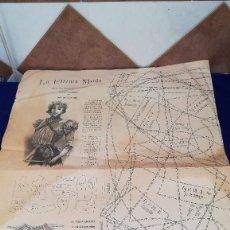 Coleccionismo: ANTIGUA LAMINA PATRON DE COSTURA LA ULTIMA MODA, AÑO 1898. Lote 120673391