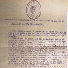 Coleccionismo: ALICANTE. DOCUMENTO ORDEN DE LA COMANDANCIA 21 DE ABRIL DE 1943. Lote 120759747