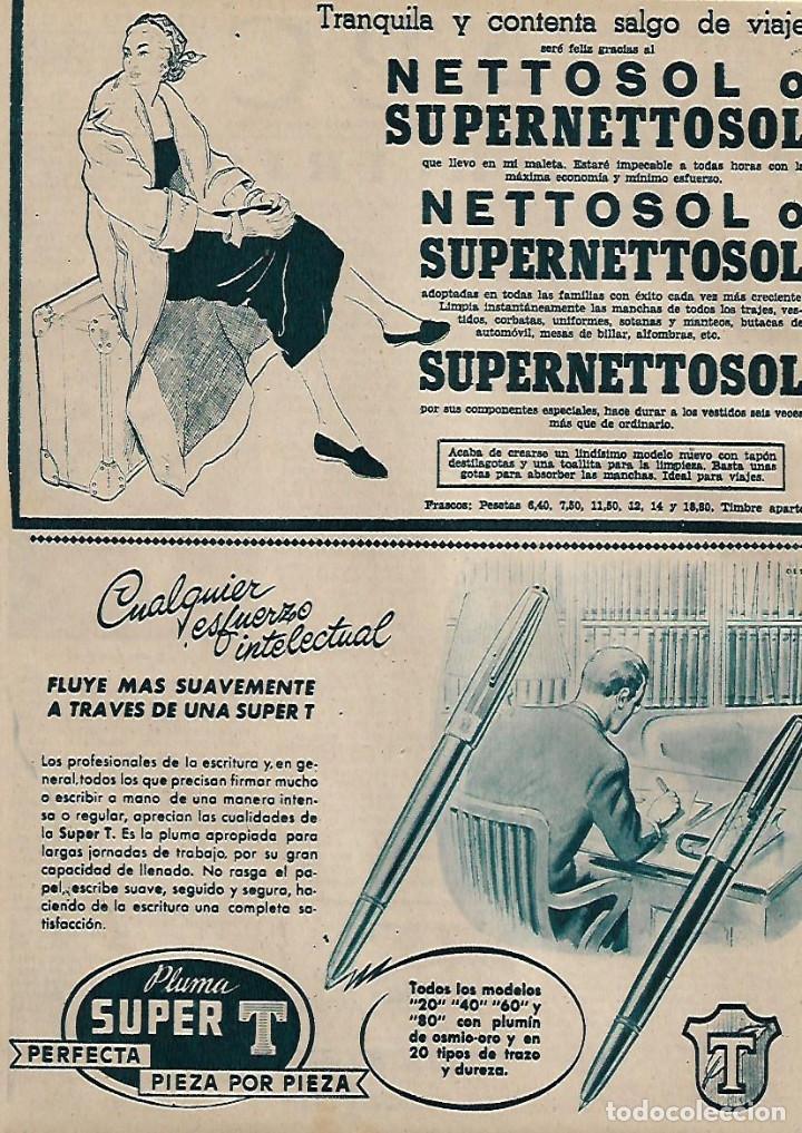 AÑO 1956 RECORTE PRENSA PUBLICIDAD ESTILOGRAFICA PLUMA SUPER T NETTOSOL (Coleccionismo - Laminas, Programas y Otros Documentos)