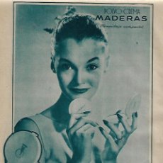 Coleccionismo: AÑO 1956 RECORTE PRENSA PUBLICIDAD COSMETICA POLVO CREMA MADERAS MAQUILLAJE MYRURGIA. Lote 121293303