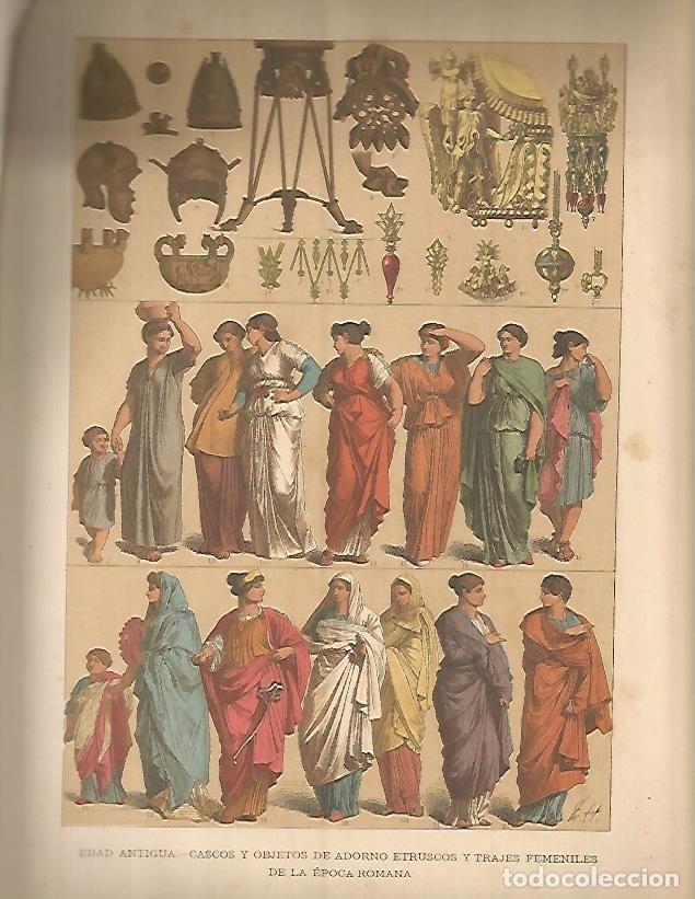 LAMINA 9652: Cascos y objetos etruscos y trajes de mujeres romanas segunda mano