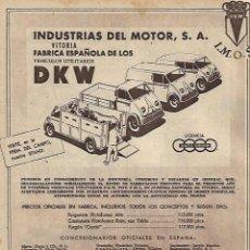 Coleccionismo: AÑO 1956 RECORTE PRENSA PUBLICIDAD INDUSTRIAS DEL MOTOR VITORIA DKW CAMION VEHICULO UTILITARIO COCHE. Lote 122146231