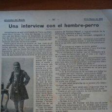 Coleccionismo: ALREDEDOR DEL MUNDO. UNA INTERVIEW CON EL HOMBRE- PERRO. Lote 122180970