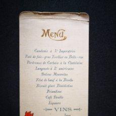 Coleccionismo: MENÚ RESTAURANTE J PRINCE FRANCIA 18 SEPTIEMBRE 1905 9X18 CM. Lote 122628976