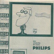 Coleccionismo: AÑO 1962 RECORTE PRENSA PUBLICIDAD APARATOS DE RADIO PHILIPS. Lote 122725167