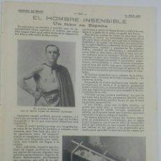 Coleccionismo: EL HOMBRE INSENSIBLE. UN FAKIR EN ESPAÑA. 1900. Lote 123018864