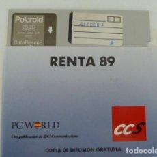 Coleccionismo: DISQUETTE 5.25 PULGADAS-CUARTO 1/4 - PROGRAMA RENTA 1989. Lote 123079407