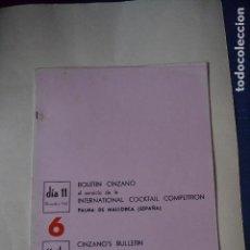 Coleccionismo: BOLETIN CINZANO DEL CAMPEONATO INTERNACIONAL DE COCTELERIA DE 1967. Lote 122907679