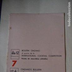 Coleccionismo: BOLETIN CINZANO DEL CAMPEONATO INTERNACIONAL DE COCTELERIA DE 1967. Lote 122907835