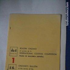 Coleccionismo: BOLETIN CINZANO DEL CAMPEONATO INTERNACIONAL DE COCTELERIA DE 1967. Lote 122907019