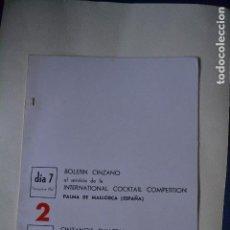 Coleccionismo: BOLETIN CINZANO DEL CAMPEONATO INTERNACIONAL DE COCTELERIA DE 1967. Lote 122907159