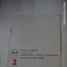 Coleccionismo: BOLETIN CINZANO DEL CAMPEONATO INTERNACIONAL DE COCTELERIA DE 1967. Lote 122907291