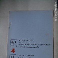 Coleccionismo: BOLETIN CINZANO DEL CAMPEONATO INTERNACIONAL DE COCTELERIA DE 1967. Lote 122907391