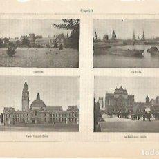 Coleccionismo - LAMINA ESPASA 4305: Vistas de Cardiff Gales - 124030210