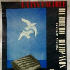 Coleccionismo: LAMINA - POSTER LA INVENCIBLE, HERRERO HERMANOS S.A. FÁBRICA DE CONSERVAS. ASTURIAS-GALICIA, 1937. Lote 124507511