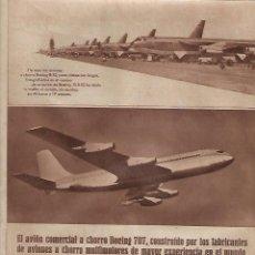 Coleccionismo: AÑO 1957 RECORTE PRENSA PUBLICIDAD AVIACION AVION COMERCIAL BOEING 707. Lote 124675935
