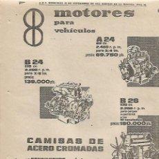 Coleccionismo: AÑO 1963 RECORTE PRENSA PUBLICIDAD MOTOR MOTORES BARREIROS PARA VEHICULOS. Lote 125038371