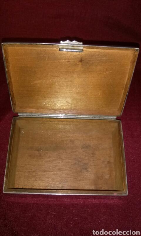 Coleccionismo: Caja metalica para tabaco, interior de madera. Cigarettes. 13x9x5 cm. - Foto 5 - 125088443
