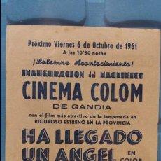 Coleccionismo: PROGRAMA DE INNAUBURACION DEL CINEMA COLON EN GANDIA.. Lote 125344611