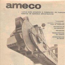 Coleccionismo: AÑO 1963 RECORTE PRENSA PUBLICIDAD AMECO SISTEMA APARATOS ALIMENTADORES. Lote 125675783