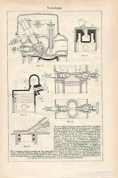 LAMINA ESPASA 27415: CILICDROS DE MOTOR DIESEL (Coleccionismo - Laminas, Programas y Otros Documentos)