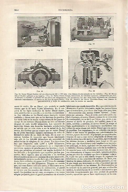 LAMINA ESPASA 27416: MOTOR DIESEL-BERLIET (Coleccionismo - Laminas, Programas y Otros Documentos)