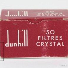 Coleccionismo: ANTIGUA CAJA DE FILTROS - 50 FILTRES CRYSTAL DUNHILL - MADE IN FRANCE - CAJA INCOMPLETA. Lote 125991227