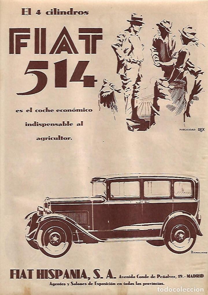 AÑO 1930 RECORTE PRENSA PUBLICIDAD AUTOMOVIL FIAT 514 FIAT HISPANIA (Coleccionismo - Laminas, Programas y Otros Documentos)