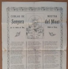 Coleccionismo: COBLAS DE NOSTRA SENYORA DEL MONT (GIRONA) SOUS IMPRESO EN OLOT 1902. Lote 126337323