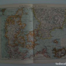 Coleccionismo: LAMINA ESPASA 27854: MAPA DE DINAMARCA Y SUECIA. Lote 126487042