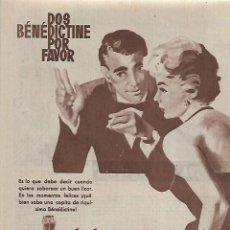 Coleccionismo: AÑO 1962 RECORTE PRENSA PUBLICIDAD BEBIDAS LICOR BENEDICTINE. Lote 126498831