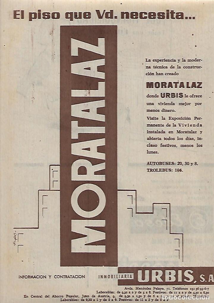 AÑO 1962 RECORTE PRENSA PUBLICIDAD VENTA DE PISOS EN MORATALAZ INMOBILIARIA URBIS (Coleccionismo - Laminas, Programas y Otros Documentos)