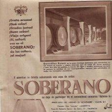 Coleccionismo: AÑO 1957 RECORTE PRENSA PUBLICIDAD BEBIDAS COÑAC SOBERANO BODEGAS GONZALEZ BYASS. Lote 126501911