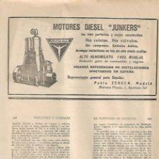 Coleccionismo: AÑO 1930 RECORTE PRENSA PUBLICIDAD MOTOR DIESEL JUNKERS. Lote 126594195