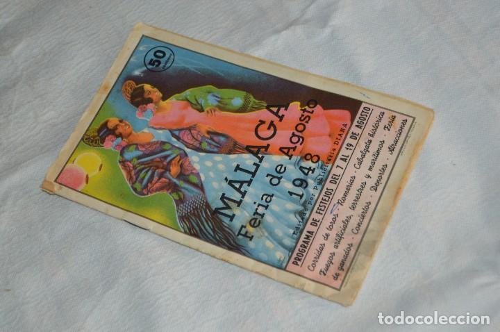 IMPRESIONANTE PROGRAMA - MÁLAGA, FERIA DE AGOSTO DE 1948 - PRECIOSO - PUBLICITARIA DIANA - ENVÍO 24H (Coleccionismo - Laminas, Programas y Otros Documentos)