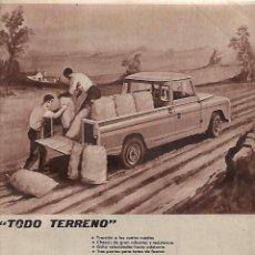 Coleccionismo: AÑO 1962 RECORTE PRENSA PUBLICIDAD TODO TERRENO LAND ROVER SANTANA. Lote 126728815