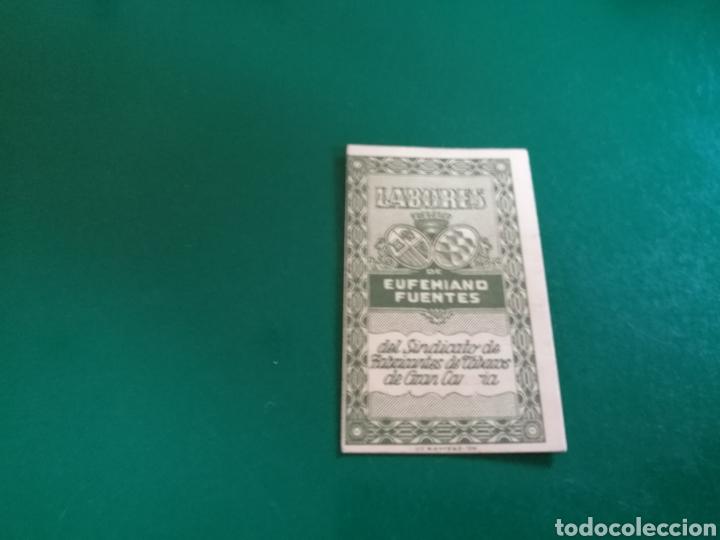ANTIGUA TARJETA LABOR DE TABACO DE EUFEMIANO FUENTES. GRAN CANARIA. PRINCIPIOS SIGLO XX (Coleccionismo - Objetos para Fumar - Otros)