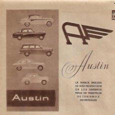 Coleccionismo: AÑO 1957 RECORTE PRENSA PUBLICIDAD COCHE AUSTIN RELOJ UNIVERSAL GENEVE. Lote 126990787