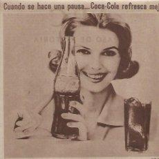Coleccionismo: AÑO 1962 RECORTE PRENSA PUBLICIDAD COCACOLA COCA COLA BEBIDAS REFRESCOS. Lote 127002831