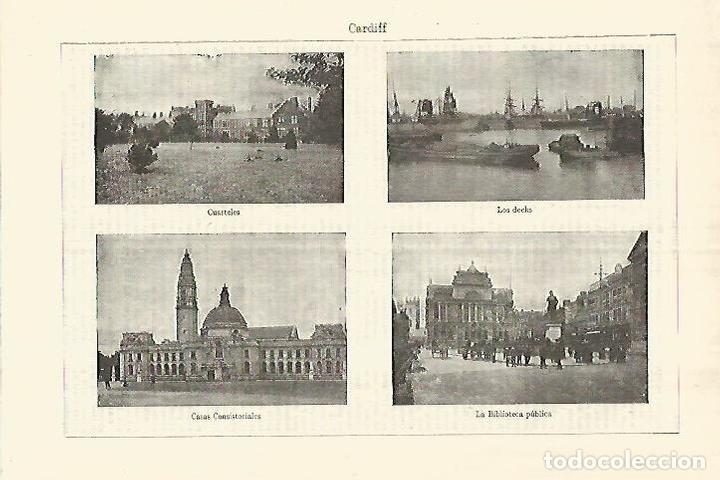 LAMINA ESPASA 28323: VISTAS DE CARDIFF (Coleccionismo - Laminas, Programas y Otros Documentos)