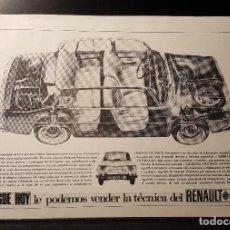 Collectionnisme: HOJA PUBLICIDAD. RENAULT 8. DESDE YA PUEDE COMPRAR LA TECNICA DEL RENAULT 8. 1965. Lote 127159303