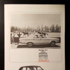 Collectionnisme: HOJA PUBLICIDAD. COCHE DODGE - DART. CALIDAD EXCEPCIONAL. BARREIROS. 1965. Lote 127169271