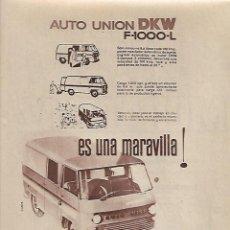 Coleccionismo: AÑO 1963 RECORTE PRENSA PUBLICIDAD AUTO UNION DKW IMOSA INDUSTRIAS DEL MOTOR FURGON MICROBUS. Lote 127661515