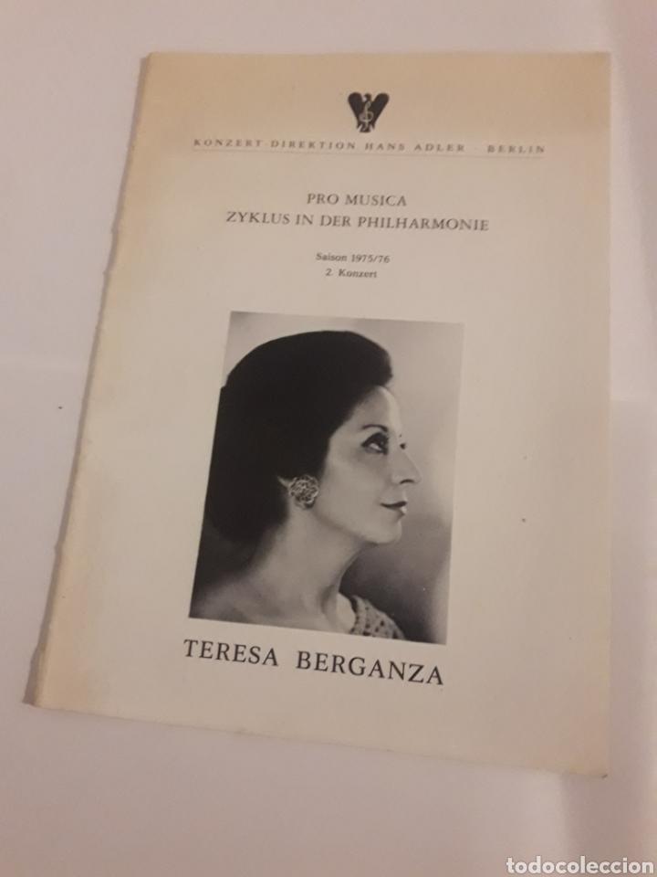 TERESA BERGANZA BERLIN HANS ADLER PRO MUSICA 1975 (Coleccionismo - Laminas, Programas y Otros Documentos)
