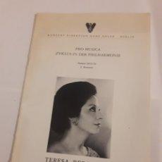 Coleccionismo: TERESA BERGANZA BERLIN HANS ADLER PRO MUSICA 1975. Lote 127798388