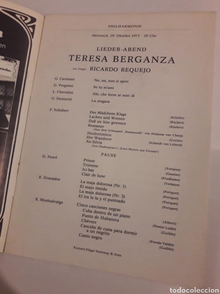 Coleccionismo: Teresa Berganza Berlin Hans Adler Pro musica 1975 - Foto 2 - 127798388